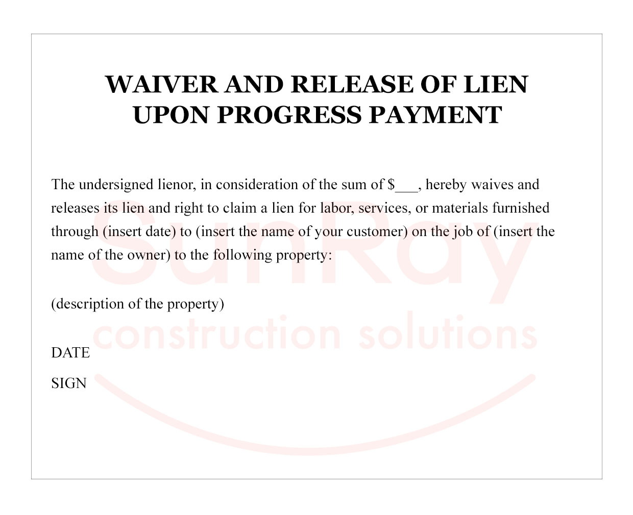 Waiver and Release of Lien upon final payment