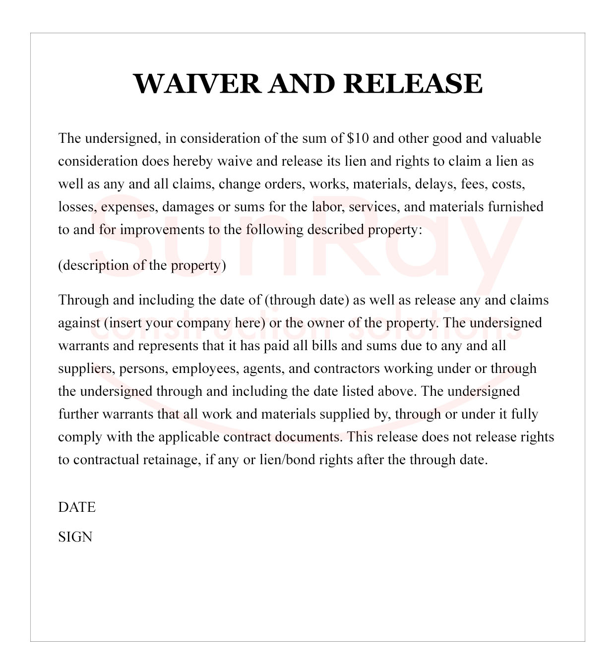Waiver and Release