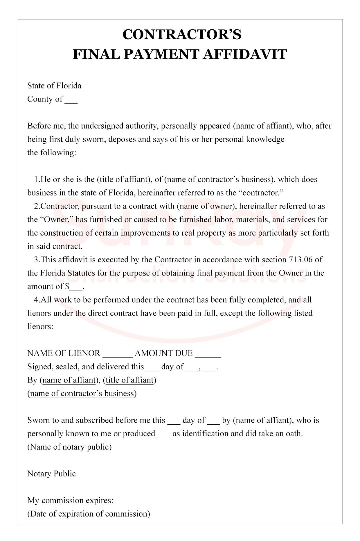 contractors final payment affidavit