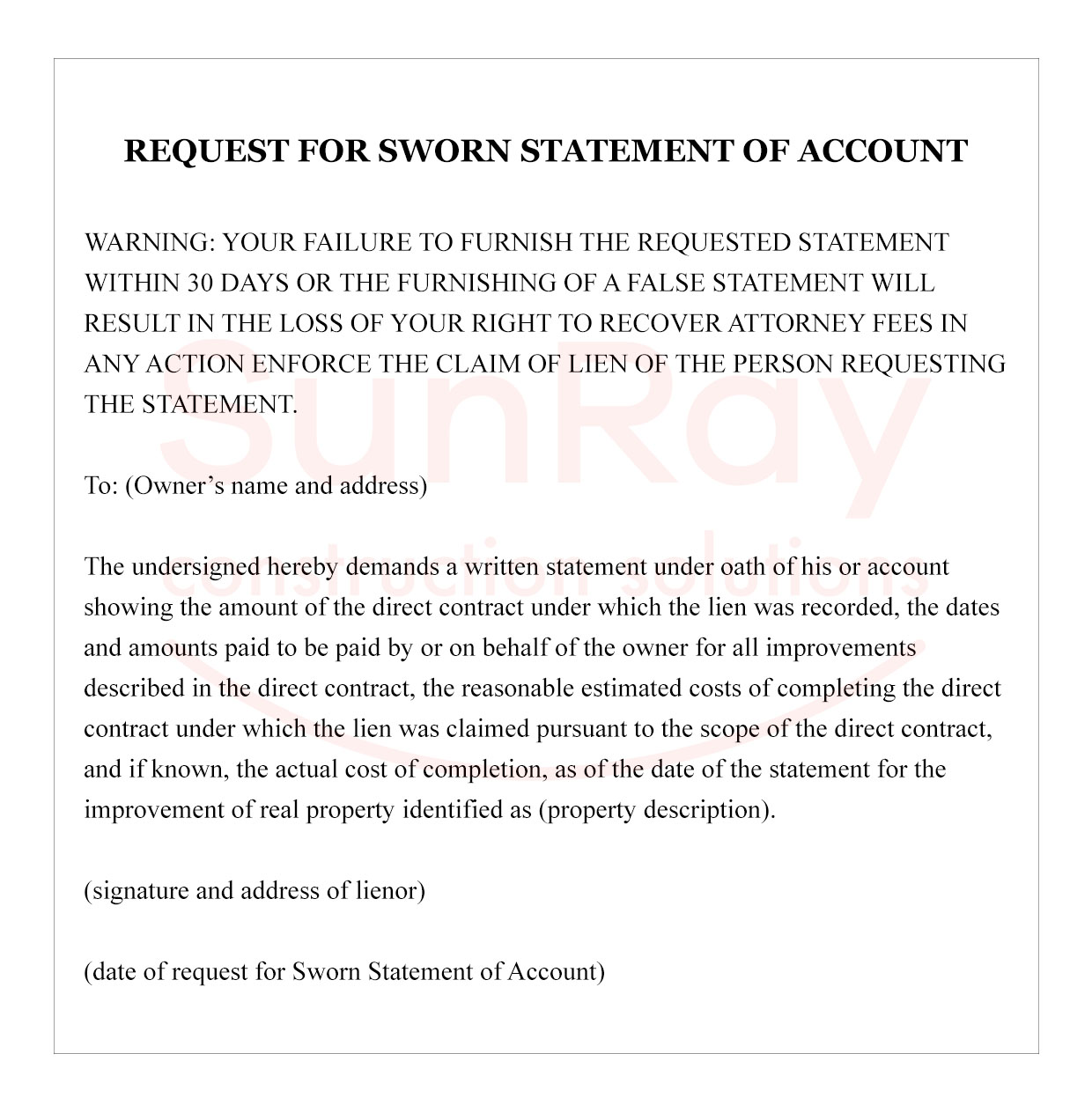 request for sworn statement of account