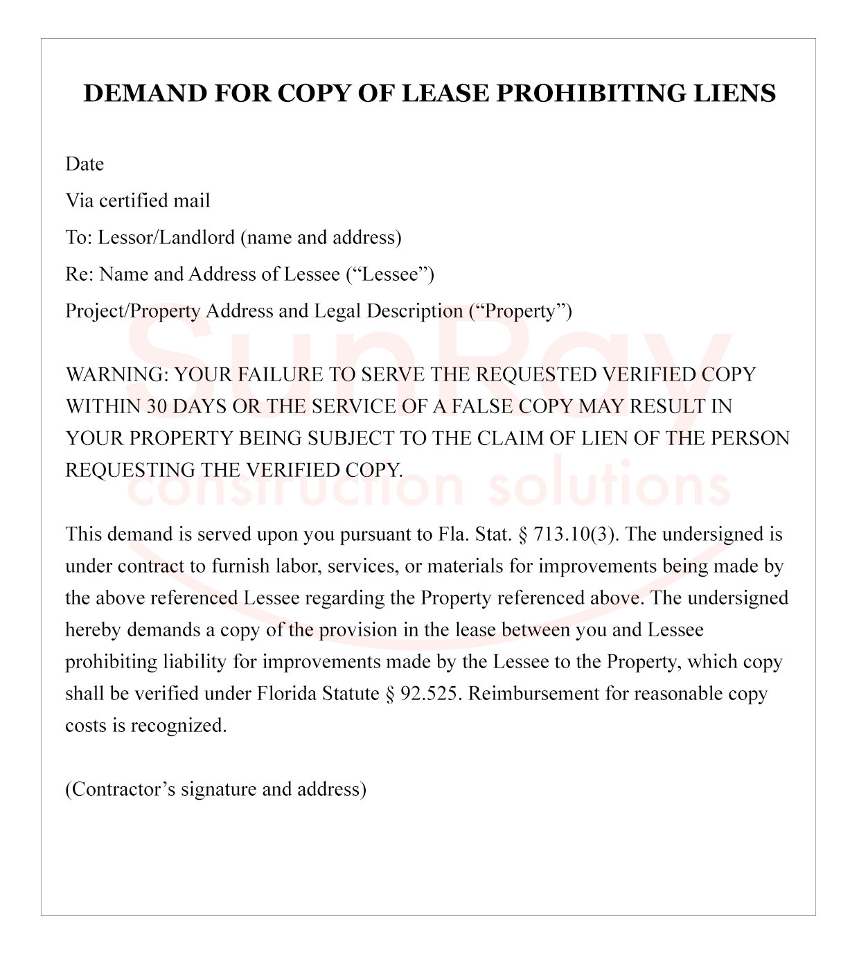 Demand for Copy of Lease Prohibiting Liens