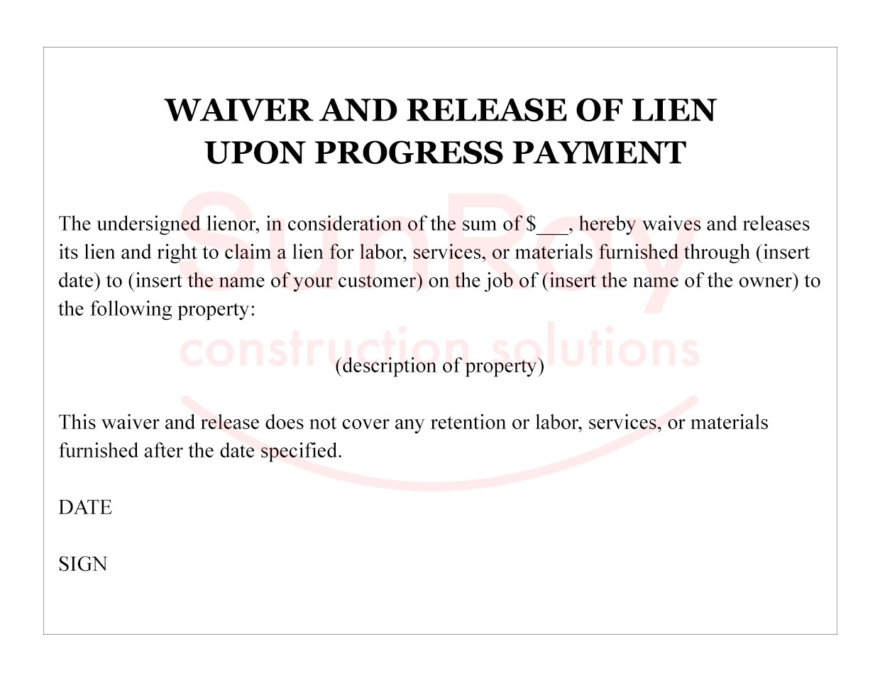 WAIVER AND RELEASE OF LIEN UPON PROGRESS PAYMENT