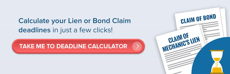 lien or bond claim deadlines