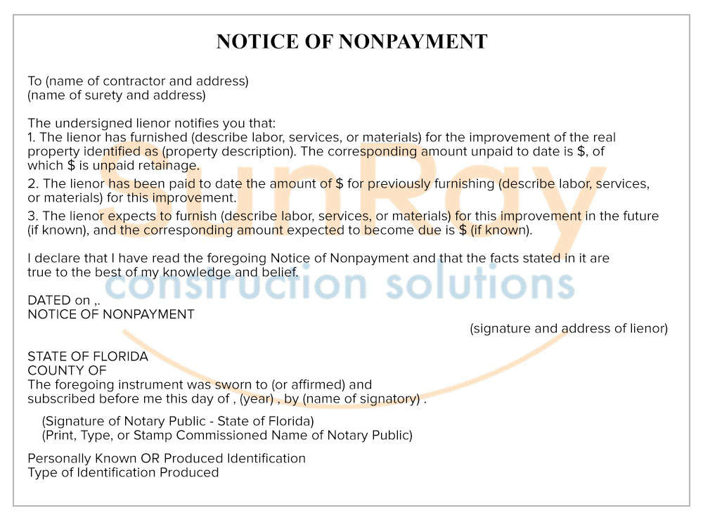 Notice of Nonpayment