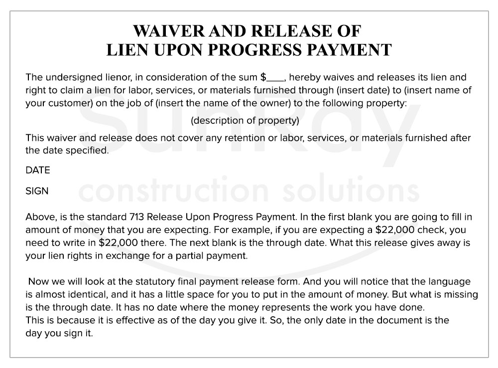 WAIVER-AND-RELEASE of Lien upon progress payment