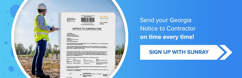 Georgia notice to contractor