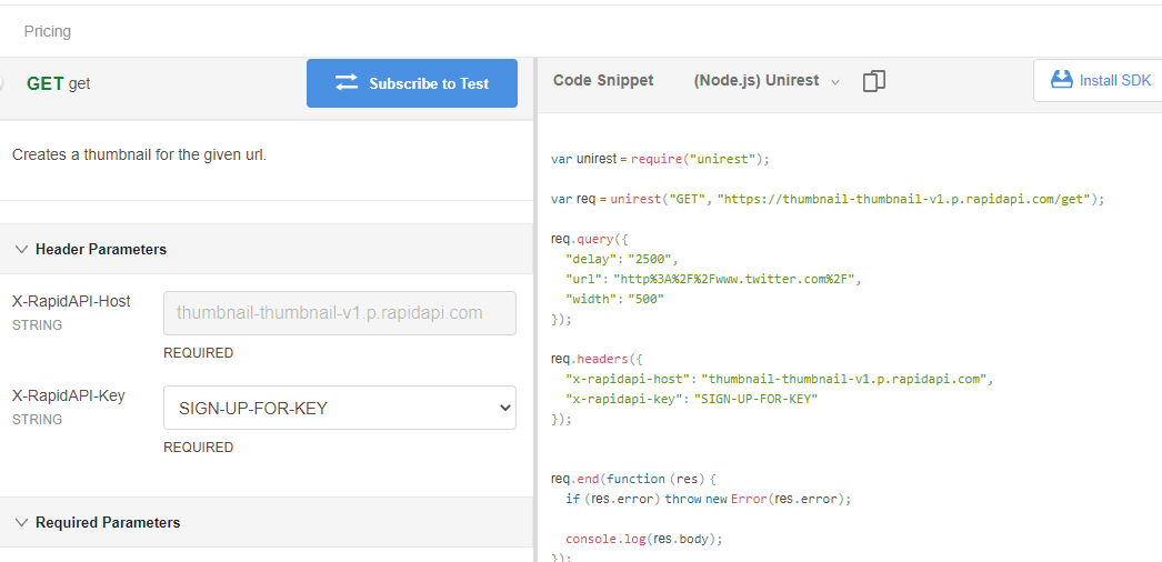Thumbnail website screenshot API