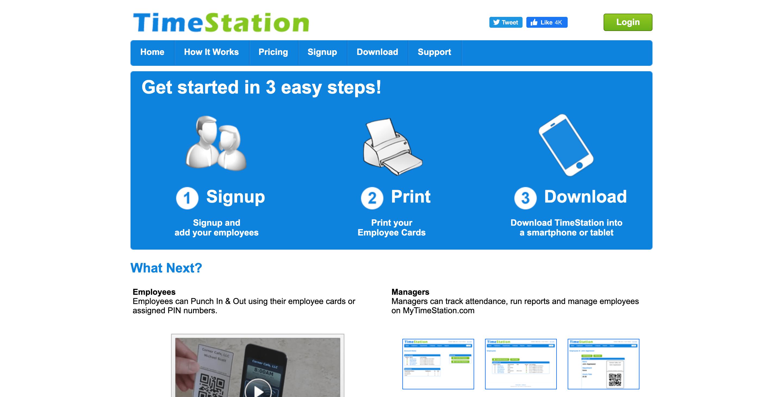 Time station time tracking API