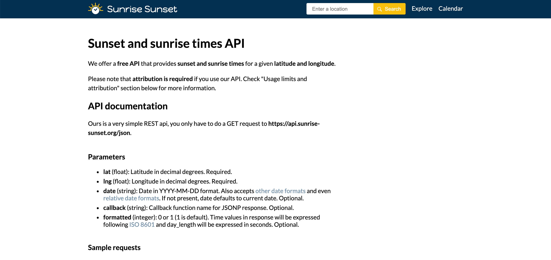 Sunrise and sunset API data provider