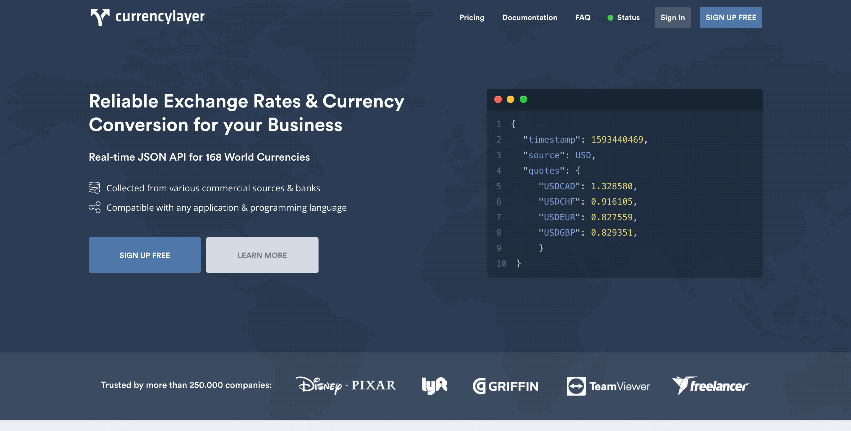 Currencylayer exchange rates API with real-time JSON data for 168 countries8