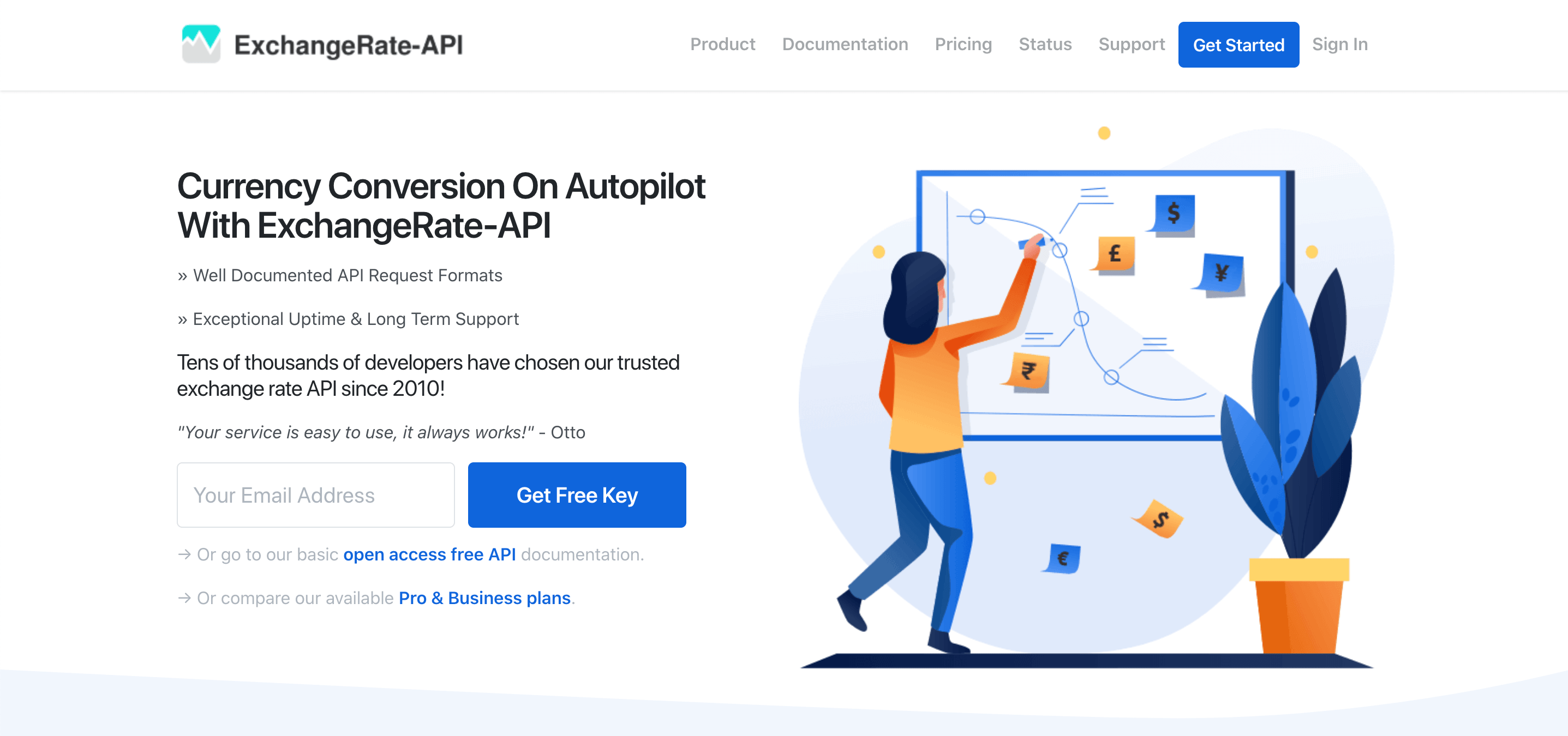 ExchangeRate API for developers operating since 2010
