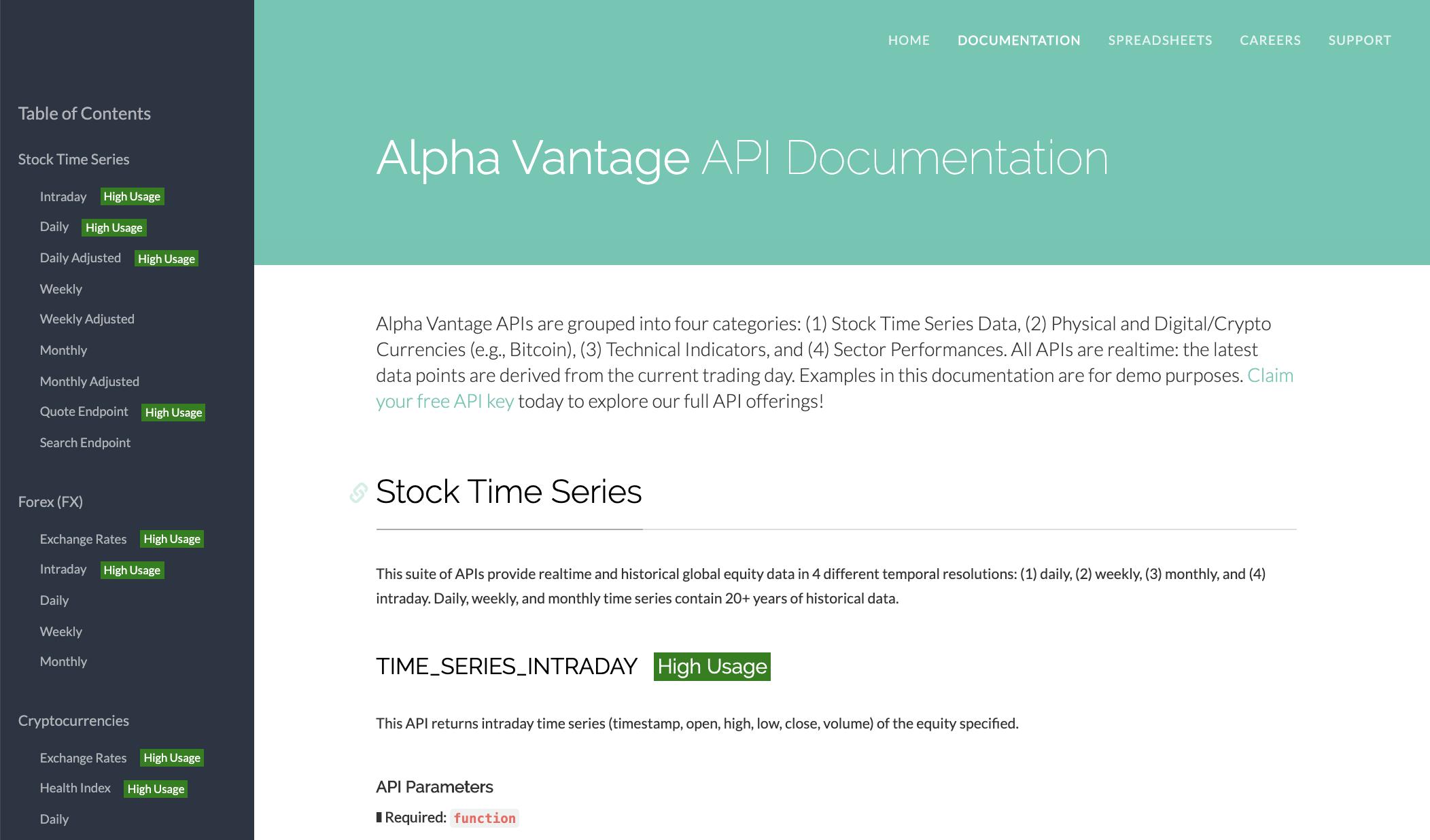 Alpha Vantage financial data API