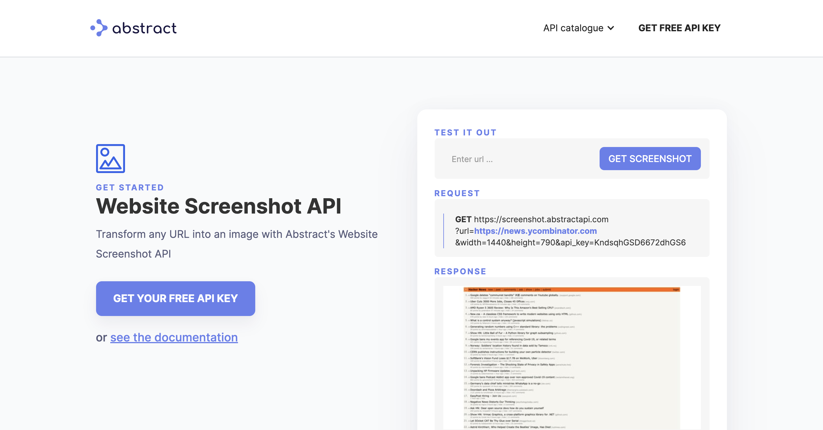 Website screenshot API by Abstract