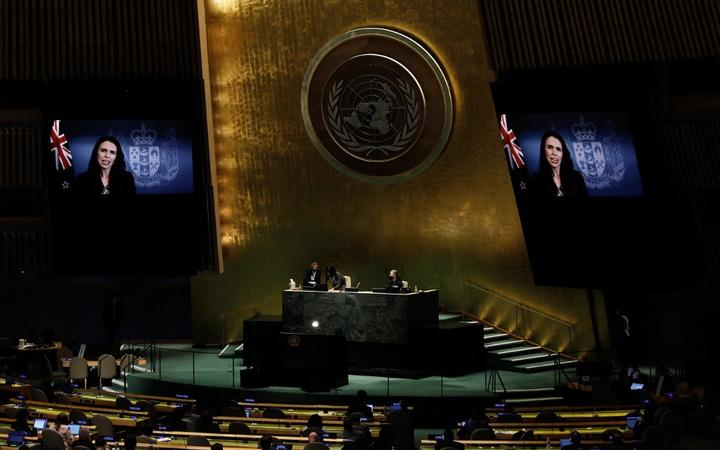 Prime Minister of New Zealand, Jacinda Ardern delivers a pre-recorded speech to the 76th session of the United Nations General Assembly at UN headquarters on September 24, 2021, in New York.