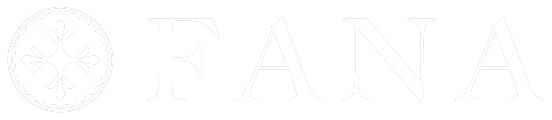 White text logo for Fana a brand of engagement rings. Fana is spelled with all capital letters.