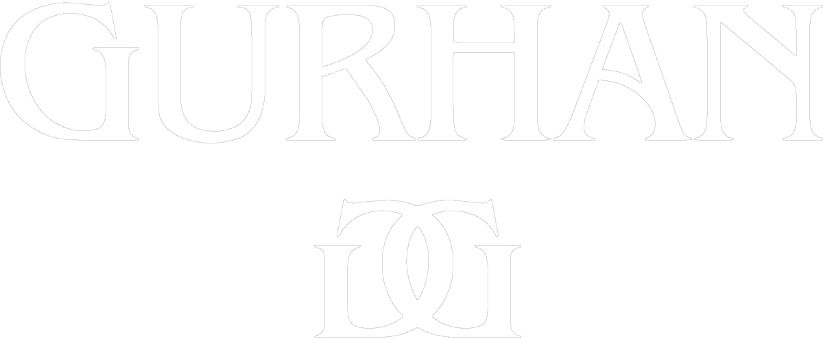 Logo for the brand Gurhan which is their name in all captital letters above a mirrored image of an overlapped Letter G