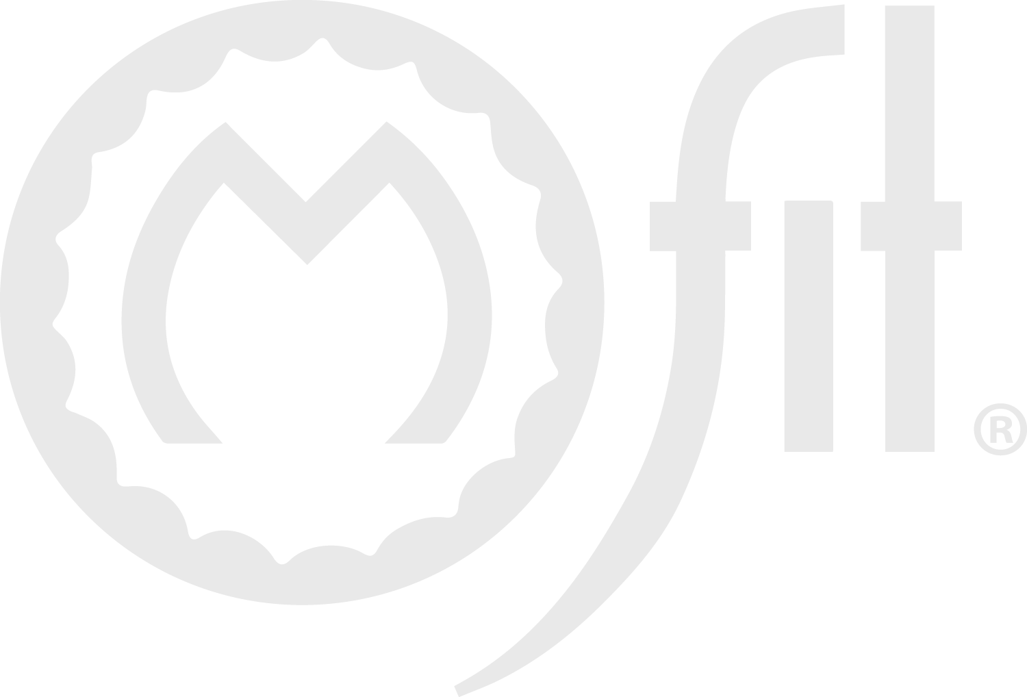 Logo for the brand M Fit. It is a widened letter M that is capitalized and surrounded in a circle meant to simulate a wedding band. Next to it are the lower case letters f i t