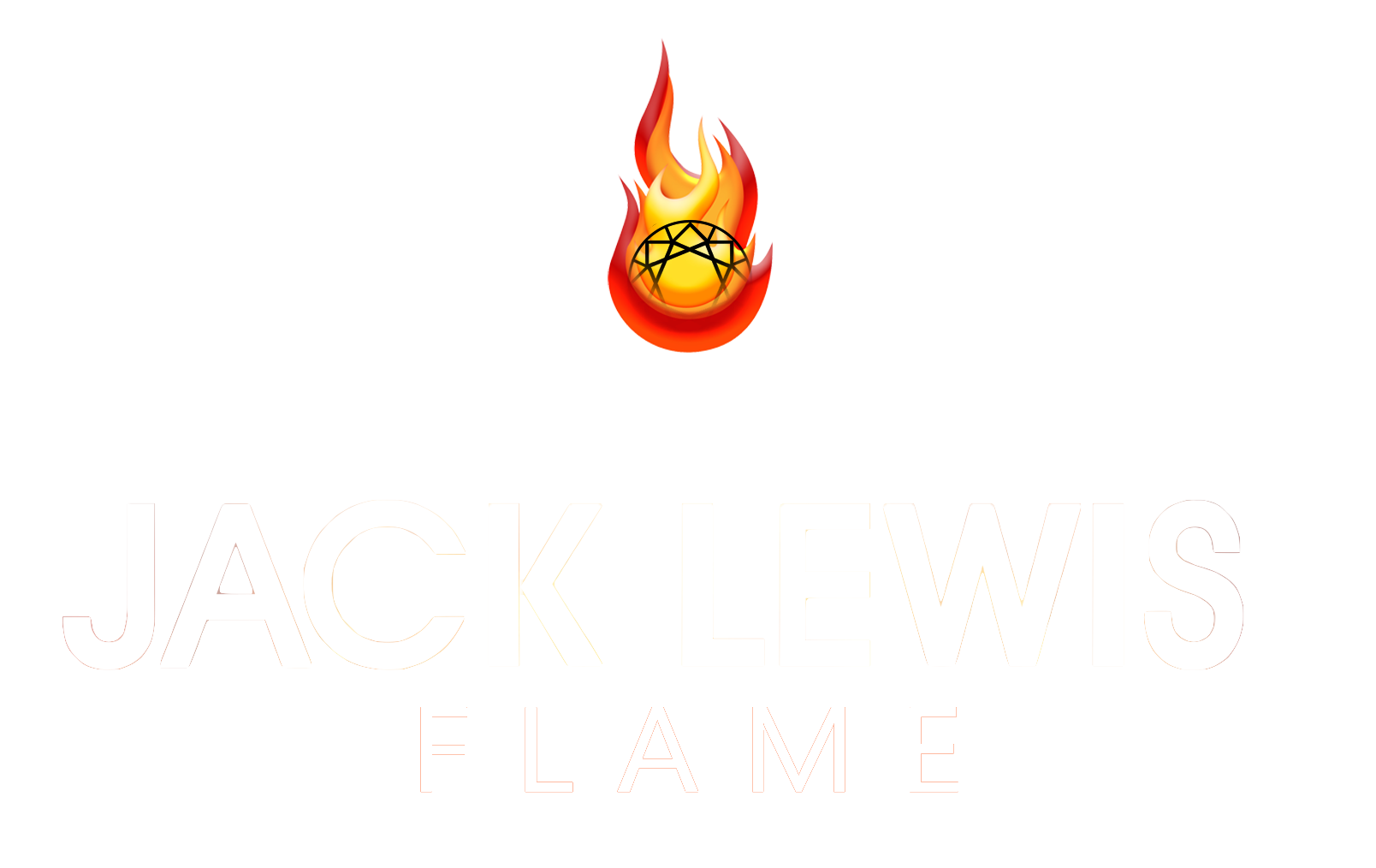 white Jack Lewis logo with the word Flame beneath it and the diamond set in cartoon flames of yellow and red.