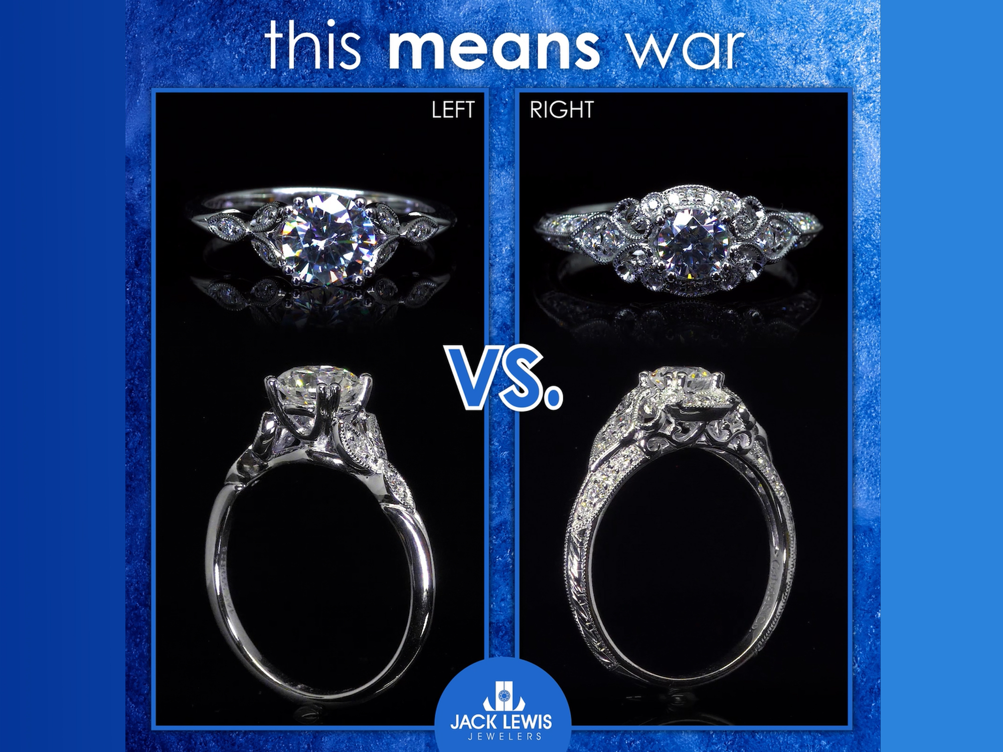 Two diamond engagement rings side by side for the viewer to choose between which they like better. On the left is a round diamond with diamonds on the side. On the right is a vintage style round diamond.