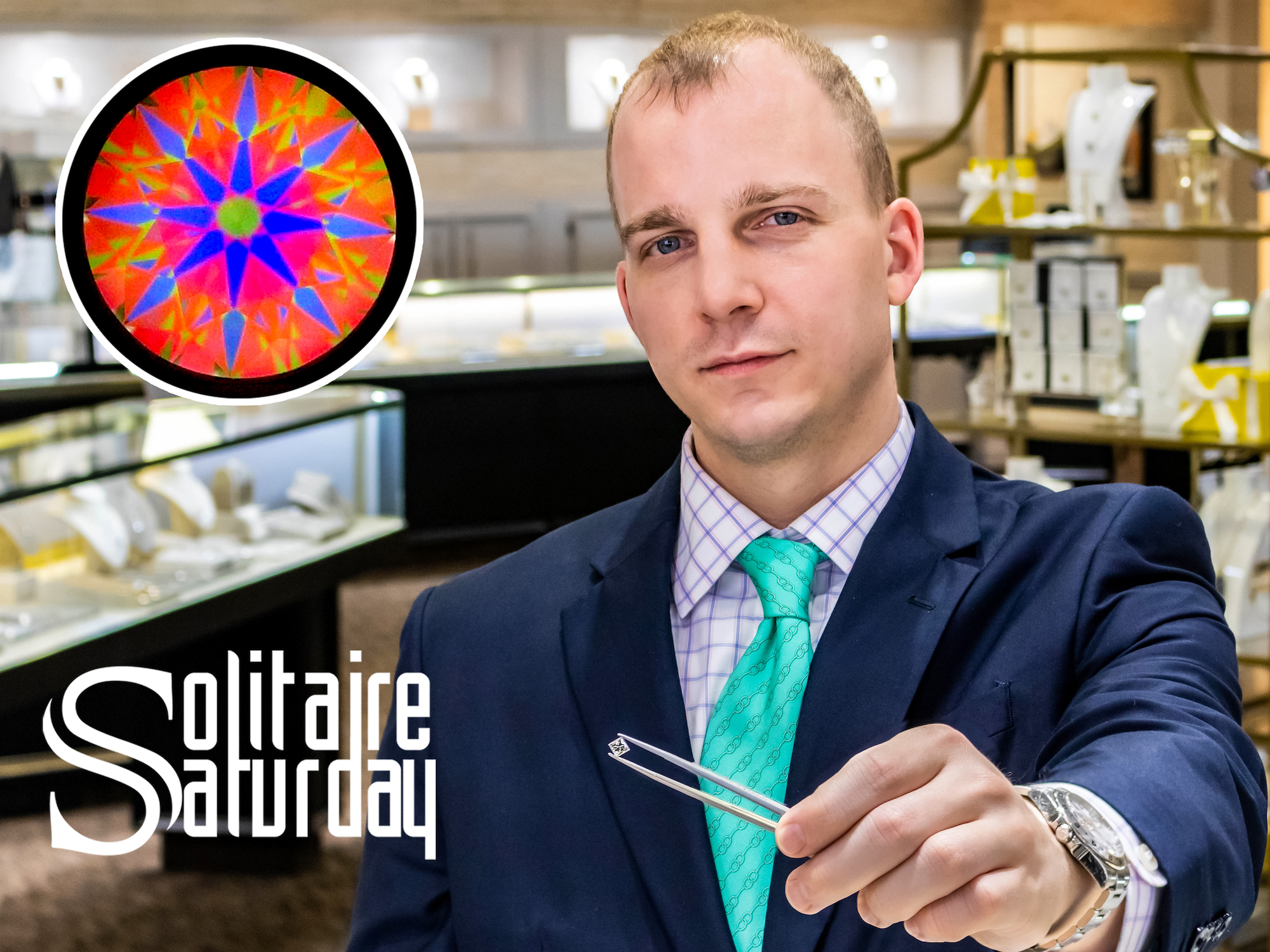 young man in a blue sport coat and teal tie holding a diamond with a pair of tweezers and looking directly into the camera. Image has the words Solitaire Saturday set on top with a heatmap image of a diamond.