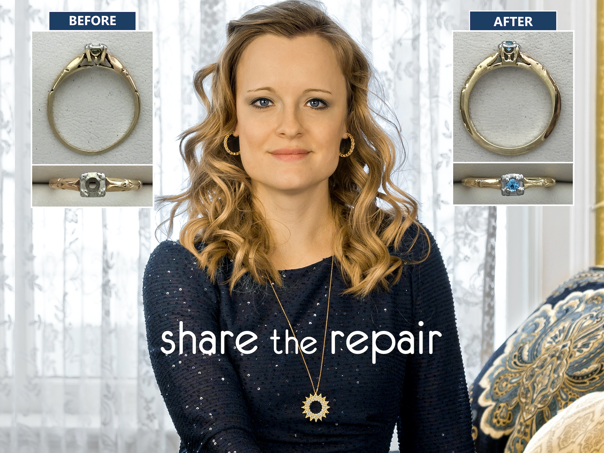 headshot of shop manager Tami with the Share the Repair logo and the before and after image of a repaired ring