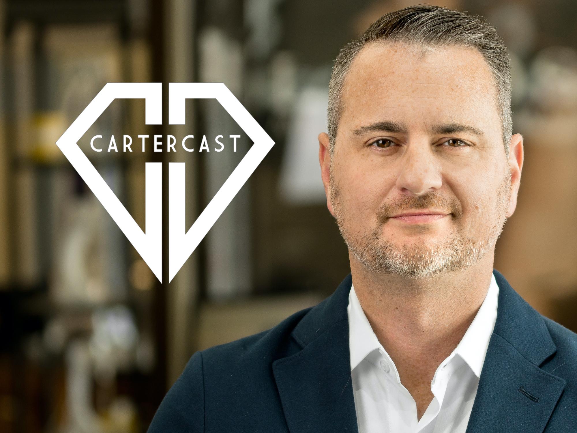 Headshot of CEO John Carter next to the CarterCast logo