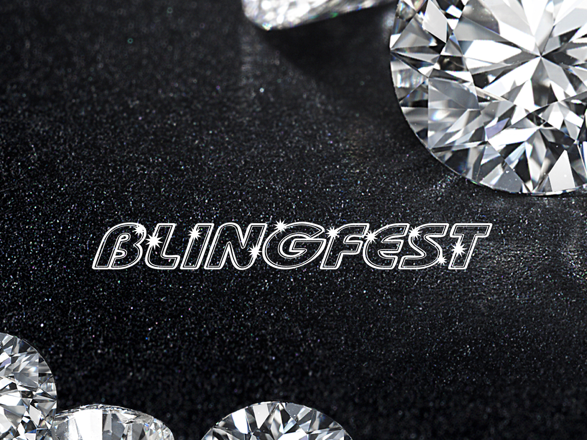 several loose diamonds strewn across a black table with the word Blingfest in the middle