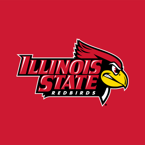 Logo for Illinois State Redbirds featuring a cartoon of a Red Cardinal with a bright yellow beak. He looks ready to fight.