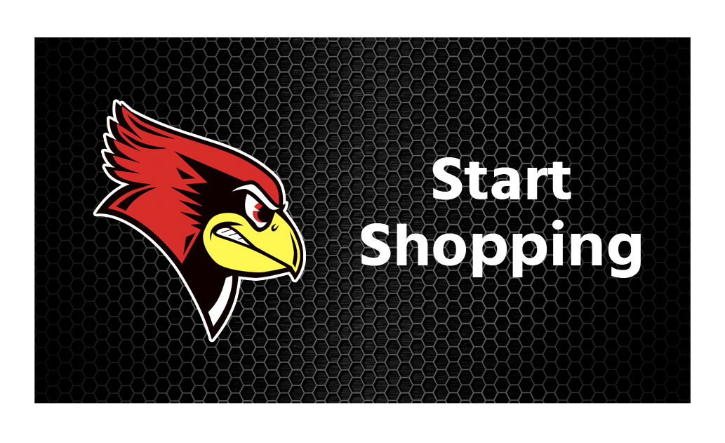 a cartoon image of a red cardinal with a yellow beak who looks ready to fight next to the phrase Start Shopping
