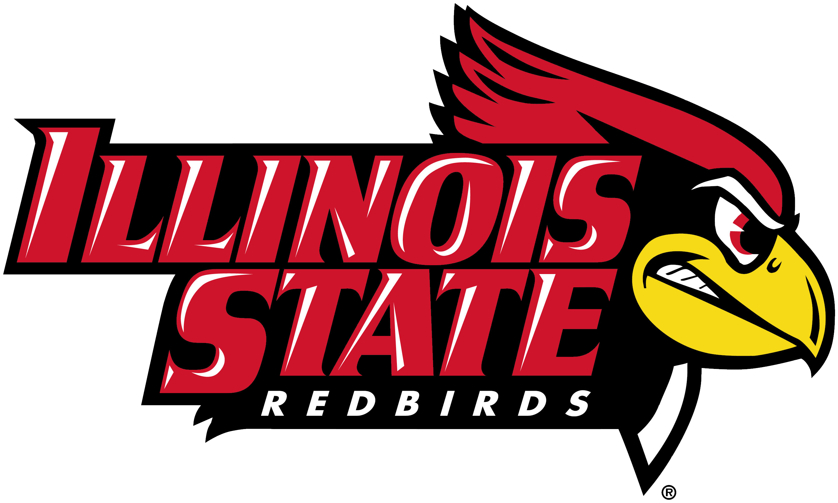 Illinois State Redbirds Logo in all capital letters with a cartoon image of a red cardinal with a yellow beak who looks ready to fight