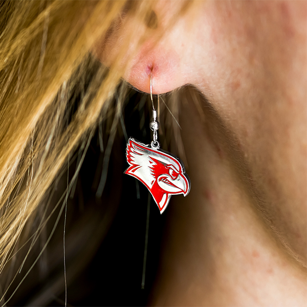 White and Red dangling earring of Reggie the Redbird