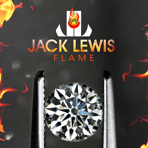 zoomed in brilliant round diamond held with tweezers below the Jack Lewis Flame logo with red, orange and yellow flame imagery