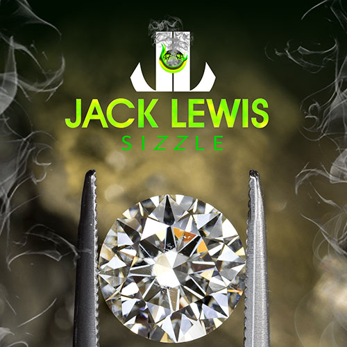 zoomed in brilliant round diamond held with tweezers below the Jack Lewis Sizzle logo with fake smoke creeping in the edge of the photo and a neon green hue