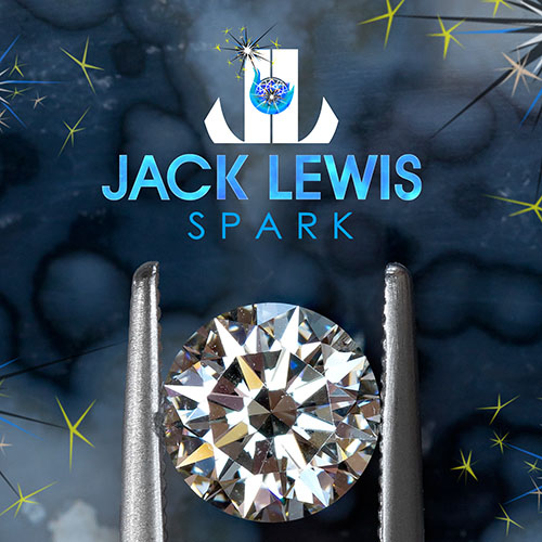 zoomed in brilliant round diamond held with tweezers below the Jack Lewis Spark logo with blue, gold and white sparkling imagery