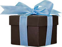 Jack Lewis Jewelers brown gift box with a blue ribbon
