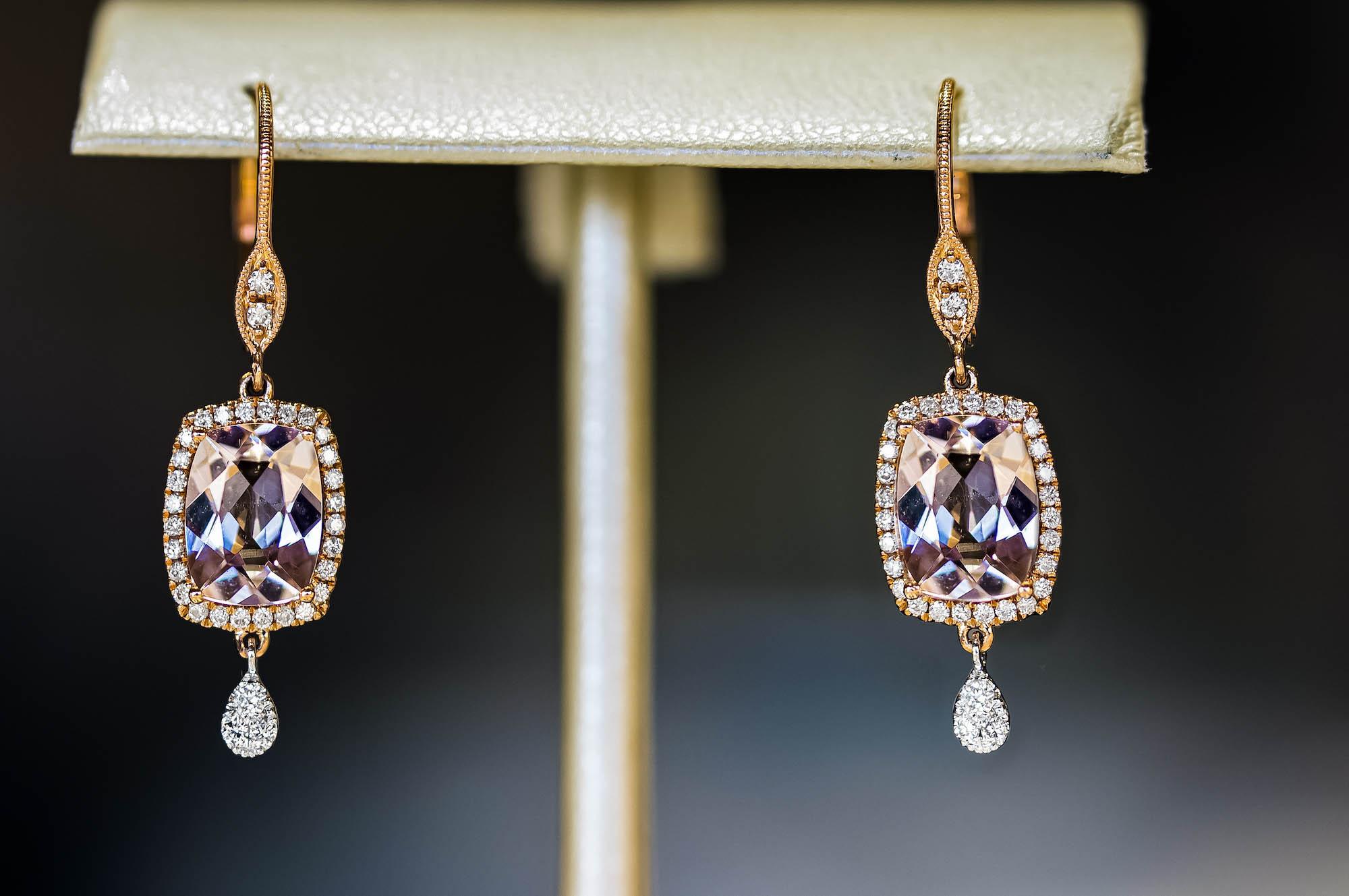 gemstone earrings on display at Jack Lewis Jewelers in Bloomington, IL
