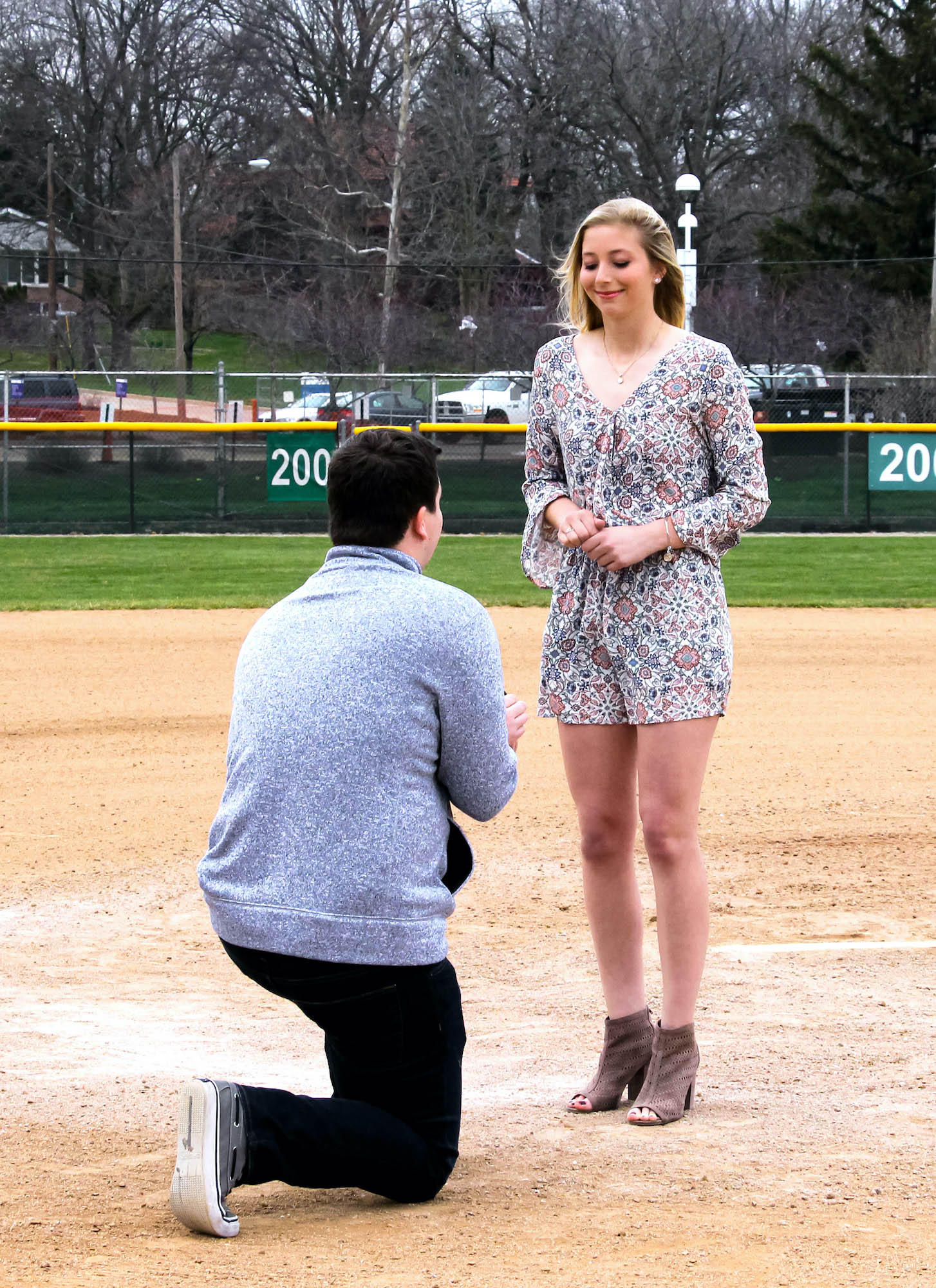 marriage proposal on the softball field at Illinois Wesleyan University in Bloomington, IL