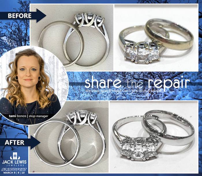 before and after jewelry repair of white gold wedding ring set turning yellow