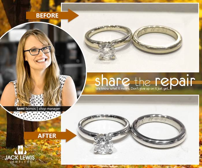 before and after jewelry repair of white gold engagement rings and wedding band that turned yellow after 19 years