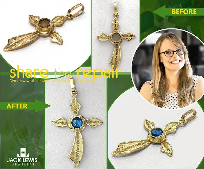before and after jewelry repair of a cross missing a center stone