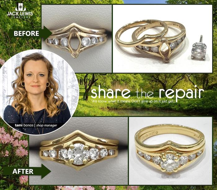 before and after jewelry repair fitting a brilliant round diamond into a marquise setting