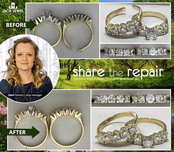 before and after pictures of a wedding ring set being repaired and resized after having to be cut off