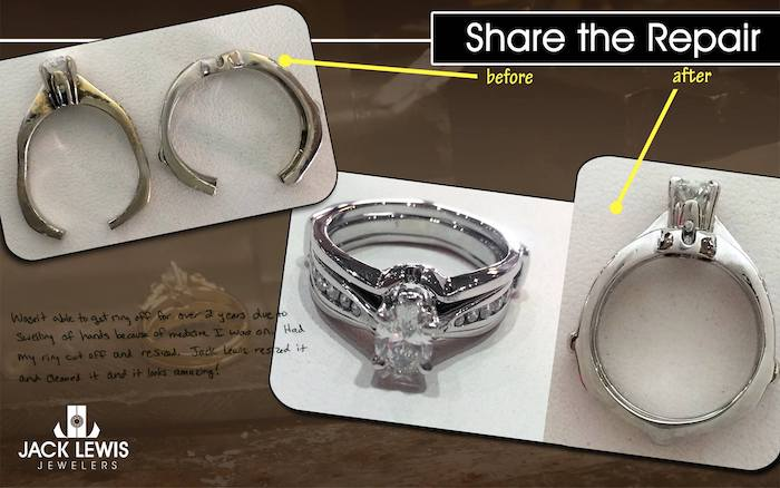 before and after jewelry repair of rings that had been cut and turned yellow but are now white gold again and resized