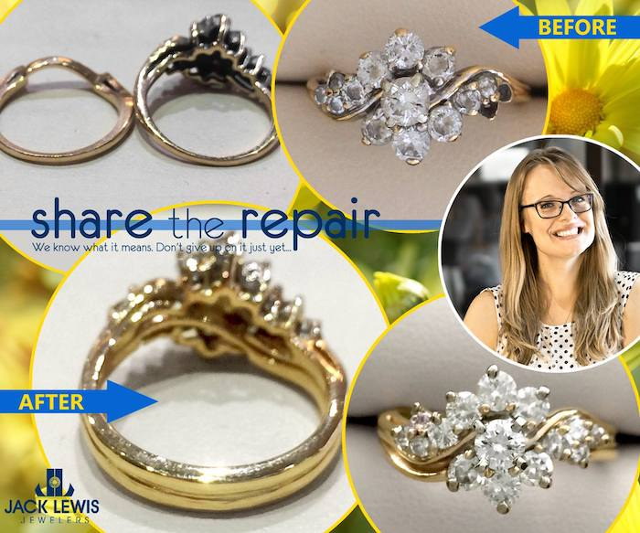 before and after of a wedding ring set missing diamonds and being soldered together
