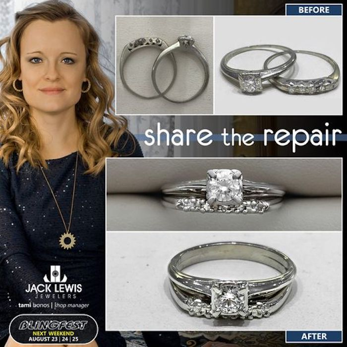before and after jewelry repair of an engagement rings and wedding band that suffered from thinning prongs and shanks. the result was a soldered together pair that will last longer