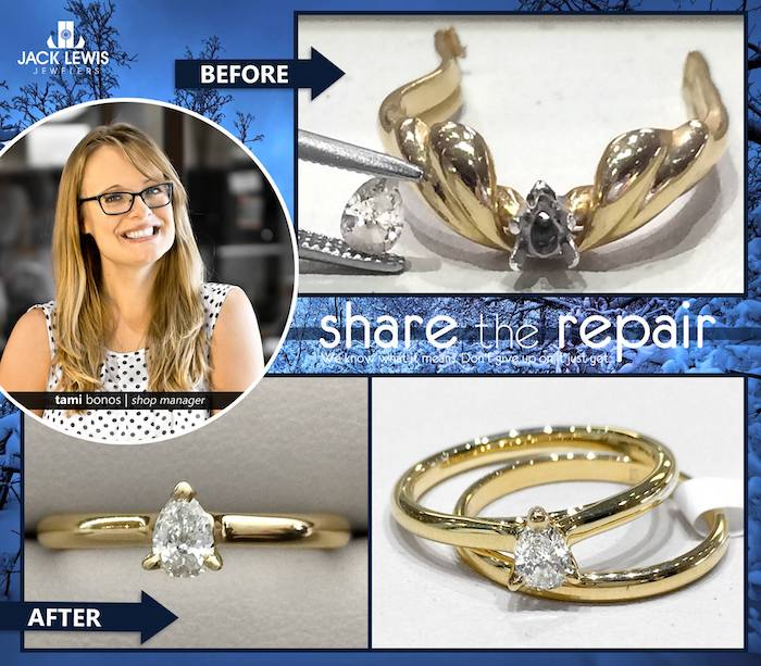 before and after jewelry repair of a ring that needed to be cut off and the diamond had fallen out. with a new setting and band that was resized the diamond ring could be worn again.