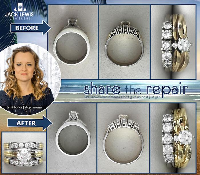 before and after jewelry repair of a wedding ring set and anniversary ring set