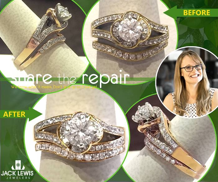 before and after jewelry repair of a diamond engagement ring and diamond wedding band, that were modified to look like an intended set, and soldered together