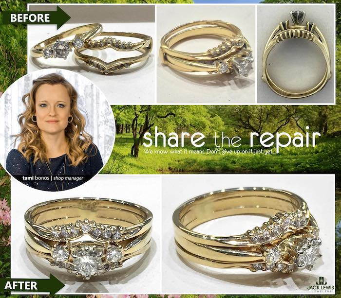 before and after jewelry repair of a diamond wedding ring set that no longer fit and was soldered together to reduce future wear and tear