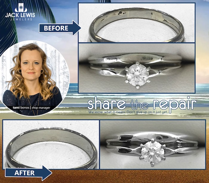 before and after jewelry repair of a wedding ring set that needed a thicker shank and rounded tips that hold the diamond in place